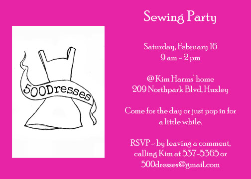 Sewing invite copy